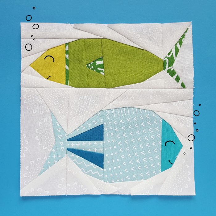 Fish quilt block // Paper piecing block for fishes Freddy and Ferdinand. Aren't they adorable?