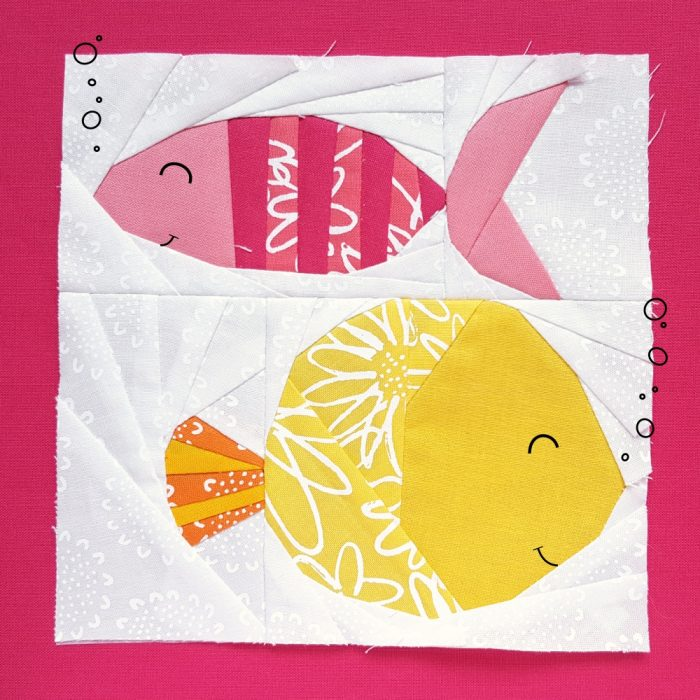 Paper piecing pattern // Funky Fishes Fiona and Francine. So cute for a mini quilt or a pillow for the nursery.
